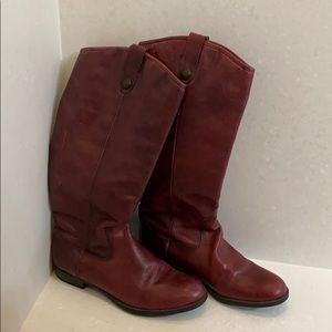 Burgundy Leather Riding Boots